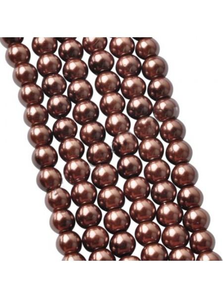 Бусины стекло, под жемчуг-коричневый,10мм,цена за 1 шт