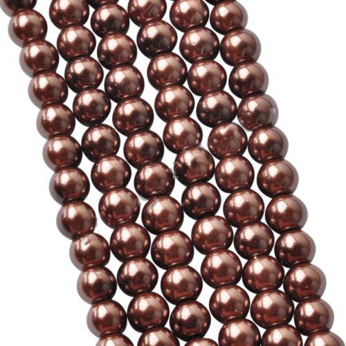 Бусины стекло, под жемчуг-коричневый,8мм,цена за 1 шт