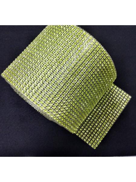Лента стразовая, пласик цв.св-зелёный, цена за 10 см
