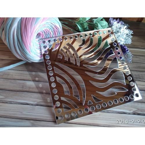 Зеркальное донышко(боковушка для сумки),Волна,цв-серебро,квадрат, 18 см