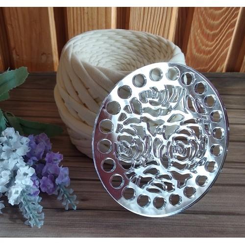 Зеркальное донышко(боковушка для сумки),Розы,цв-серебро,круг,10 см
