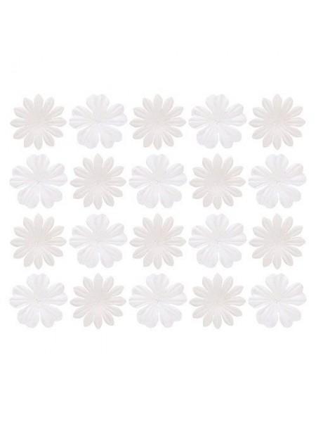 Набор цветков из шелковичной бумаги,цв-белый, 2 вида,упак./20 шт.