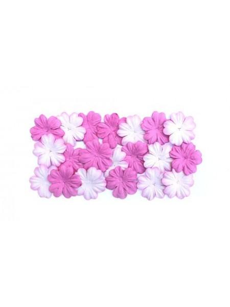 Набор цветков из шелковичной бумаги,цв-розовый, 2 вида,упак./20 шт.