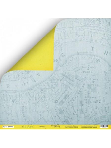 Лист двусторонней бумаги 30x30 от Scrapmir Поездка из коллекции Let's Travel