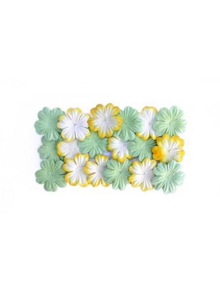 Набор цветков из шелковичной бумаги,цв-светло-зеленый /желтый, 2 вида,упак./20 шт.