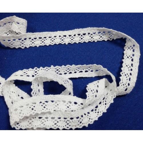 Тесьма хлопковая ,вязанная,цв-белый,шир 16 мм. цена за 1 м
