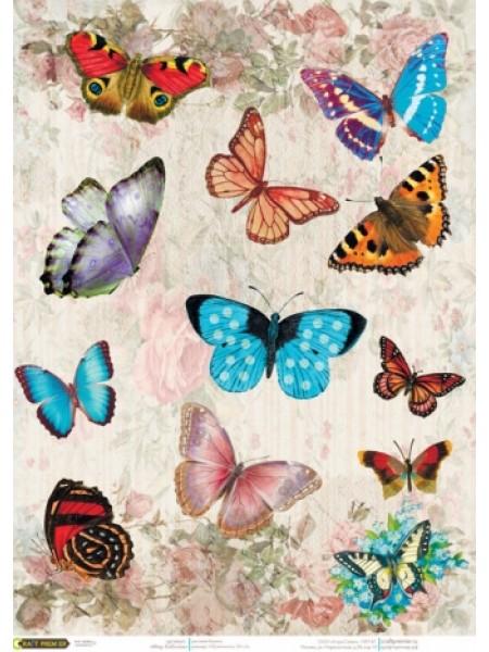 """Рисовая бумага для декупажа """"Cadence - Craft Premier"""",""""Мир бабочек"""""""