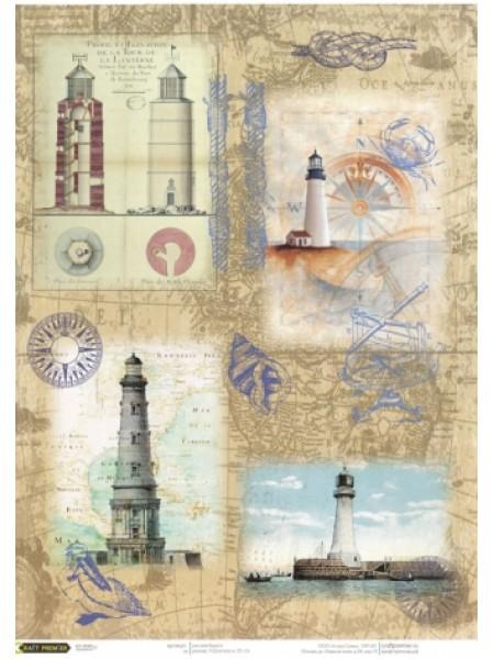 """Рисовая бумага для декупажа """"Cadence - Craft Premier"""",""""Старинный маяк"""""""