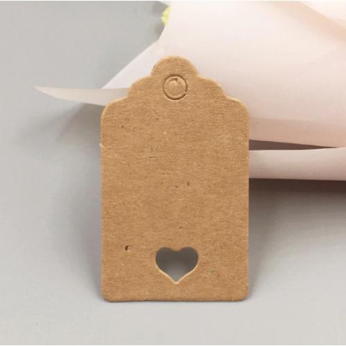 Набор крафтовых тэгов с сердечком 40*70 мм,цена за 10шт