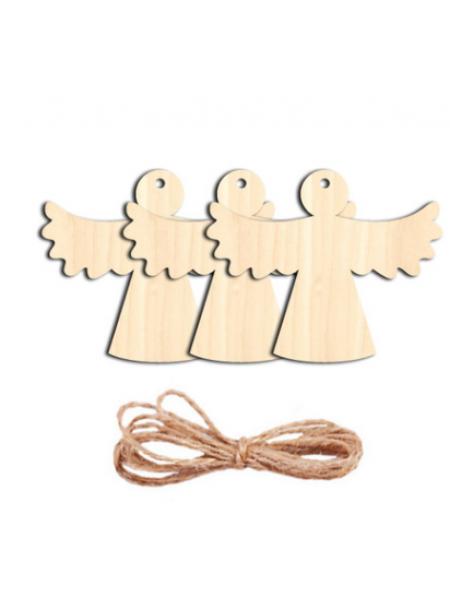 Заготовка для ёлочной игрушки-Ангел с верёвочкой, 70*90мм