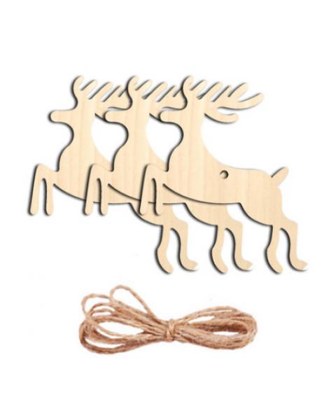 Заготовка для ёлочной игрушки-Олень с верёвочкой, 70*80мм