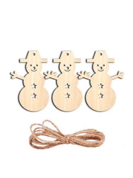 Заготовка для ёлочной игрушки-Снеговик с верёвочкой, 70*80мм