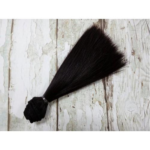 Трессы-прямые (волосы для кукол) ,черно-коричневые,15см
