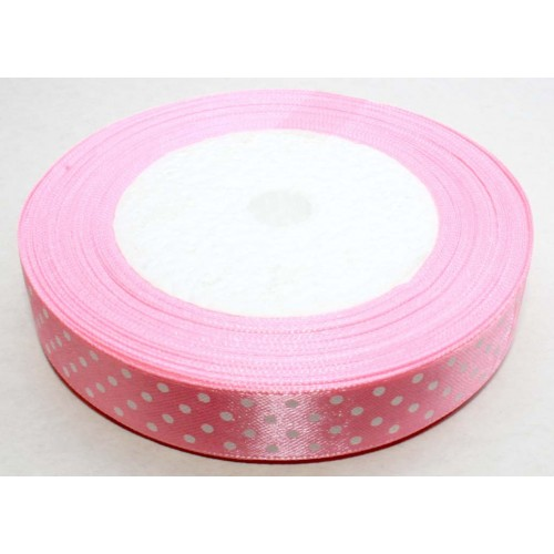 Лента атласная  в горошек,шир 1см,розовая, цена за 1 метр