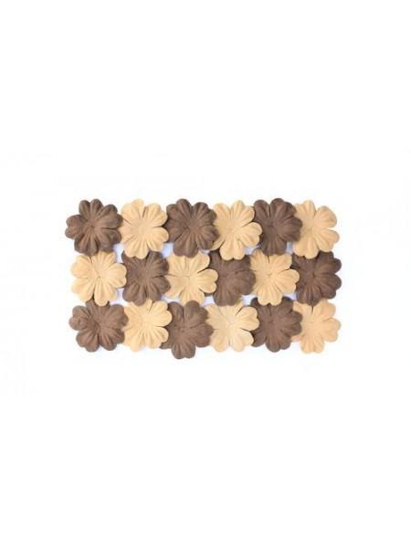 Набор цветков из шелковичной бумаги,цв-коричневый/песочный, 2 вида,упак./20 шт.