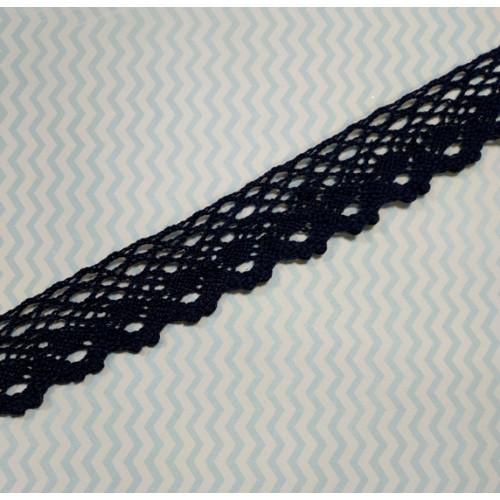 Кружево вязанное ажурное,цв-тёмно-синий,25мм,цена за 1 метр
