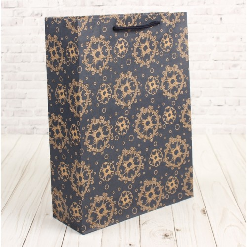 """Пакет крафтовый """"Цветочный узор на синем"""",23,5 х 8,5 х 31,5 см"""