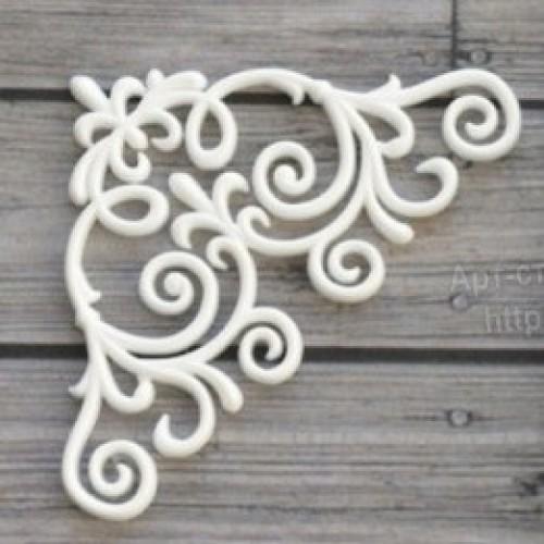Фигурка из полимерной глины-Угловой орнамент , цв-белый