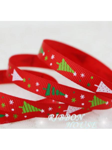 Лента репсовая-новогодняя,ёлочки на красном, 16 мм,цена за 1 метр