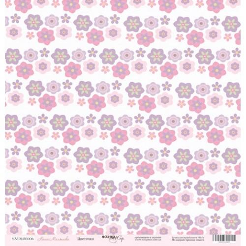 Лист односторонней бумаги 30x30 от Scrapmir Цветочки из коллекции Наша Малышка