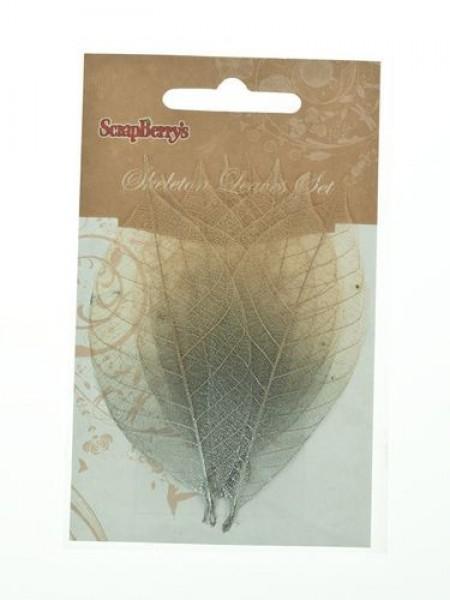 Скелетированные листочки,серый с серебром-натуральный, набор 8 шт