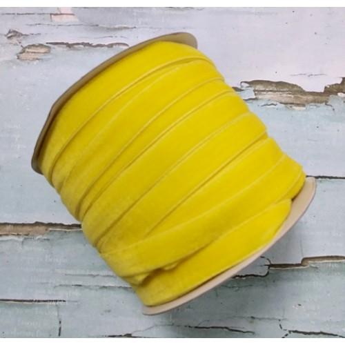 Лента бархатная, 10мм,жёлтая,1метр