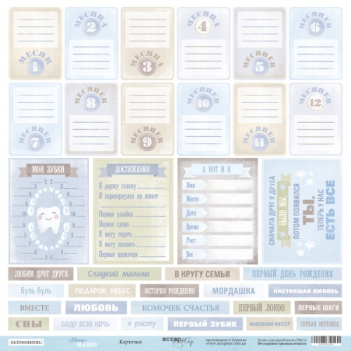 Лист односторонней бумаги для вырезания Карточки 30x30 от Scrapmir из коллекции Mommy's Hero