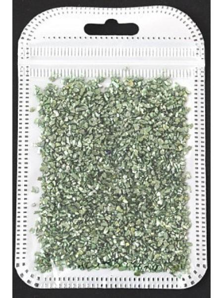 Декоративный наполнитель крошка,цв-зелёный металлик