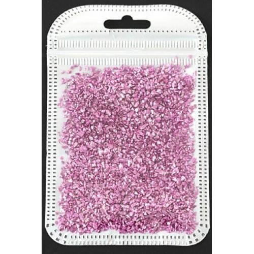 Декоративный наполнитель крошка,цв-тёмно-розовый  металлик