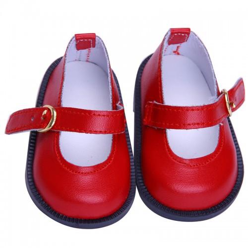 Туфельки  красные с пряжкой,7см