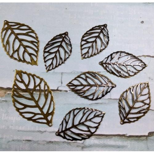 Декоративный элемент листик маленький - тёмная бронза