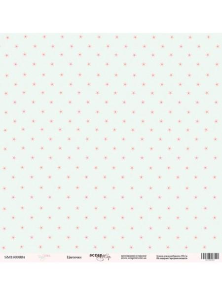 Лист односторонней бумаги 30x30 от Scrapmir Цветочки из коллекции Baby Girl