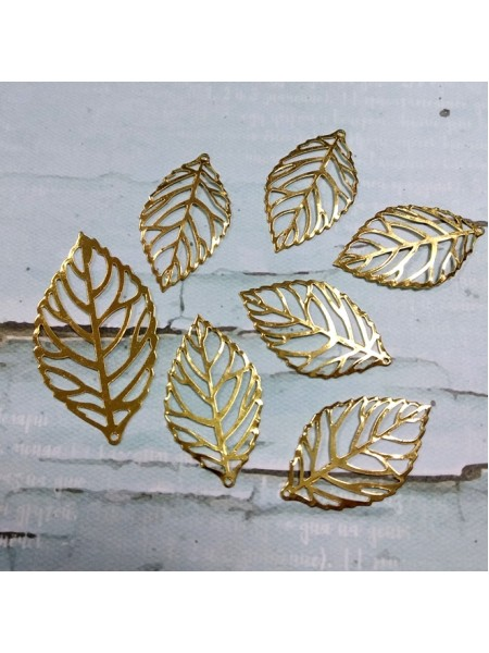 Декоративный элемент листик большой-золото