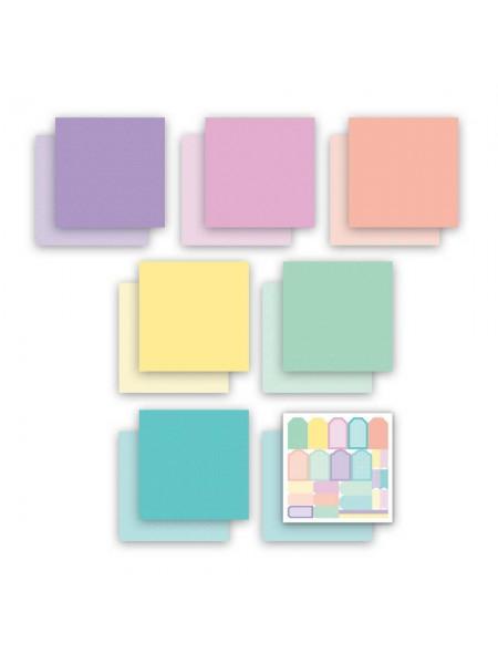 Набор двусторонней бумаги-Горошек, клетка, 20х20см- 7 листов