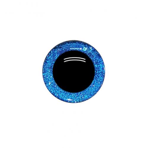 Глазки безопасные,блестящие,цв-синий,20 мм,цена за пару