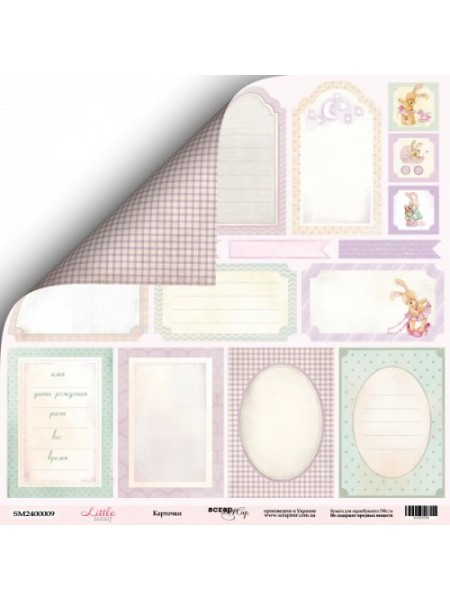 Лист двусторонней бумаги 30x30 от Scrapmir Карточки из коллекции Little Bunny