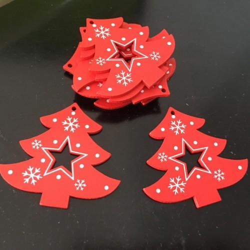 Подвеска новогодняя-Ёлка красная со звездой