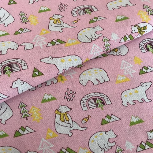Ткань для творчества-медведи(цв-розовый)50*50см