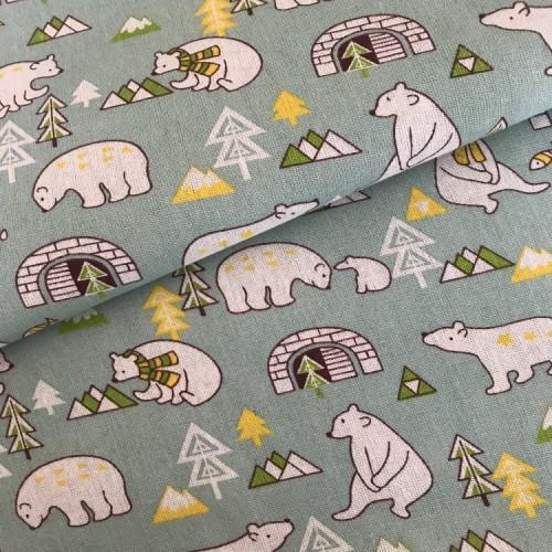 Ткань для творчества-медведи(цв зелёный) 50*50см
