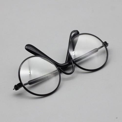 Очки со стеклом,прозрачные,цв оправы чёрный, 7,5 см