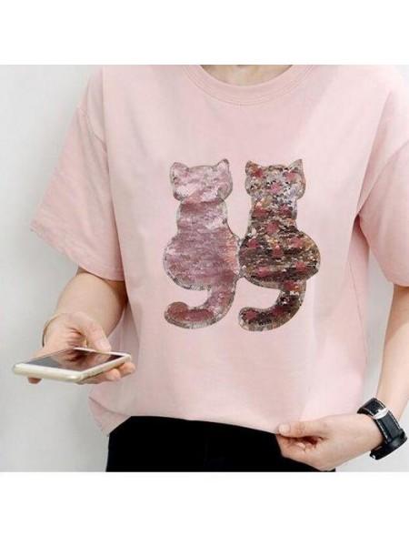 Нашивка перевертыш из пайеток- Котики,цв- розовый,18*20 см