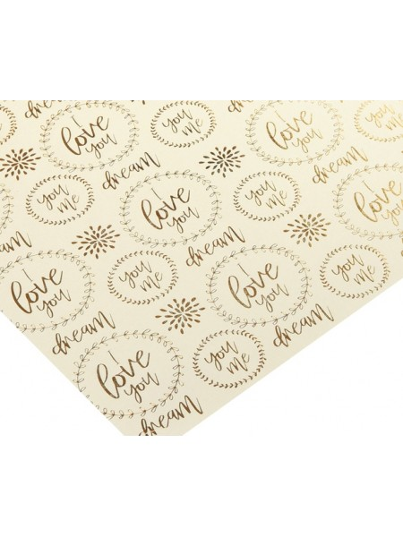 Бумага жемчужная с фольгированием золотом «Люблю тебя», 20 х 20 см, цена за 1 лист