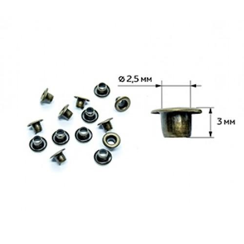 Люверсы-МИНИ д- 2,5мм высота 3мм уп. 32шт, цв.бронза