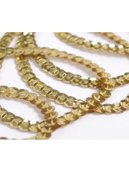 Пайетки на нити,цв-золото,6 мм,цена за 1 метр