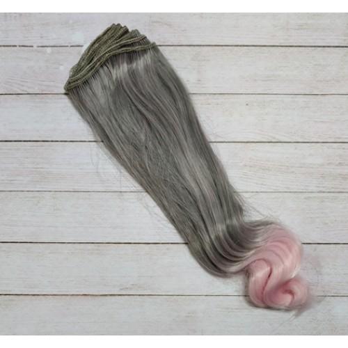 Трессы прямые с завитком,цв.серый-розовый -20СМ