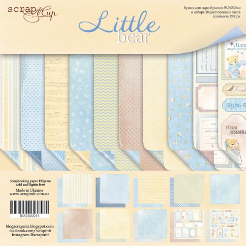 Набор односторонней бумаги 20х20см от Scrapmir-Little Bear