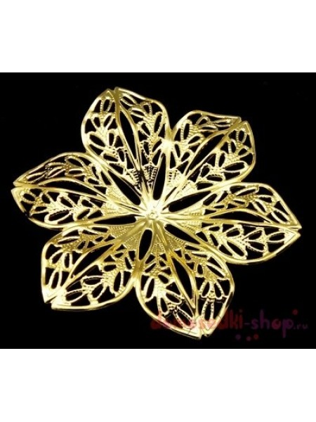 Декоративный элемент,цветок-филигрань цв-золото.4,2см,цена за 1 шт