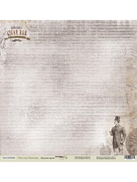 Лист односторонней бумаги 30x30 от Scrapmir Мужское время из коллекции Мистер Винтаж