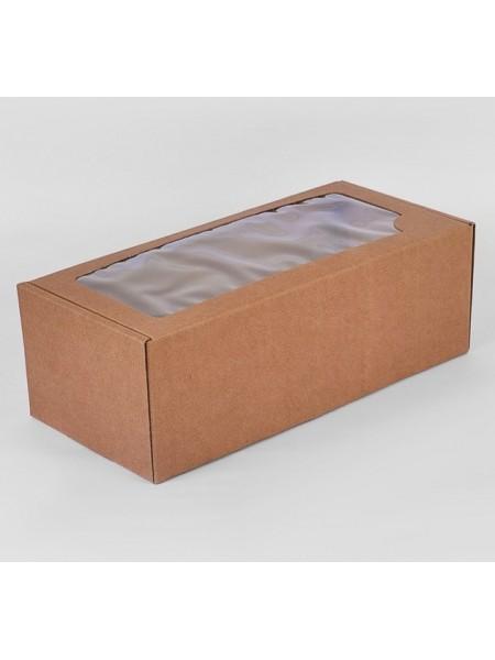 Коробка самосборная  с прозрачным окном, цвет-крафт, цена за 1 шт