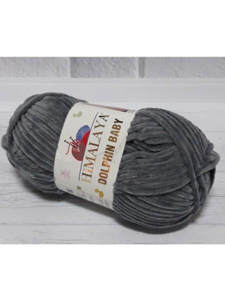 Плюшевая пряжа Долфин Бэби,цв-Тёмно-серый,№320,100гр